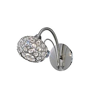 Diyas Cara Wall Lamp Switched 1 Light Satin Nickel/Crystal