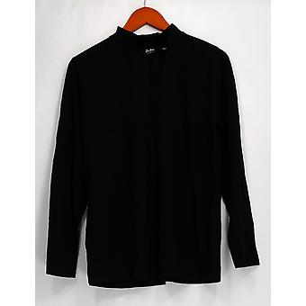Du Jour Top Long Sleeve Banded Neck w/ Keyhole Black A300220