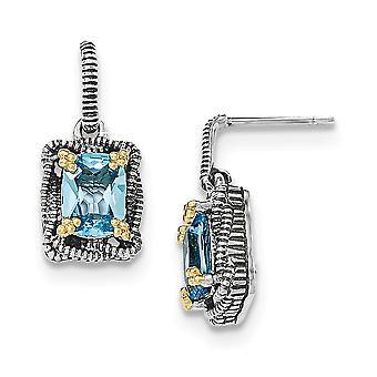 925 sterling zilver met 14k lt Swiss Blue Topaz bengelen post oorbellen-4,00 CWT