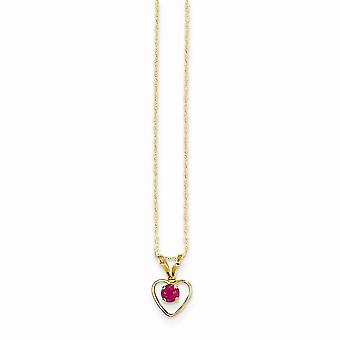 14k Yellow Gold Polished Spring Ring 3mm Ruby Love Heart Pendant Necklace for boys or girls chain 15 Inch Measures 10x6m