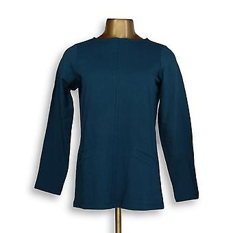 Denim & Co. Women's Top XXS Active French Terry Long Sleeve Teal Blue A294091