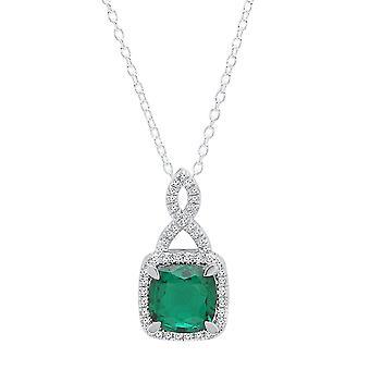 Dazzlingrock kollektion 14K 8 MM pude cut Lab skabt ædelsten & runde skåret hvid diamant damer Halo vedhæng (skabt-smaragd), hvid guld