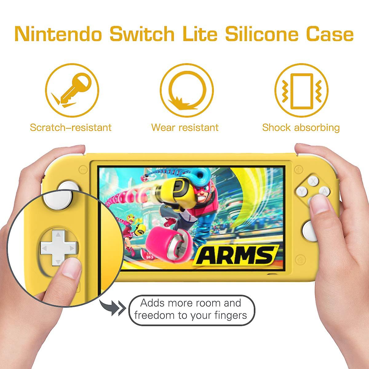 REYTID Yellow Full Body Protector Case with Non-Slip Grips Compatible with Nintendo Switch Lite