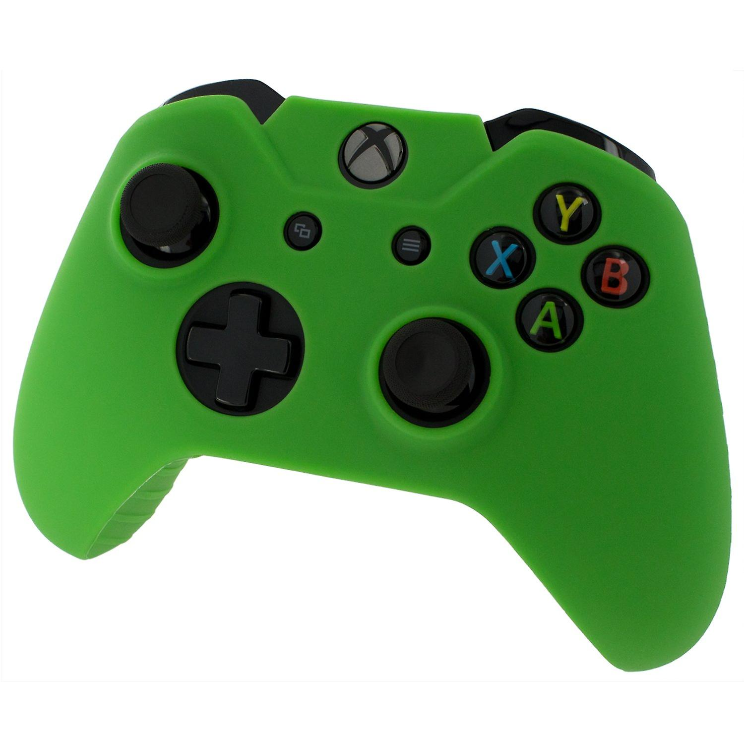 Soft silicone rubber skin grip cover for xbox one controller with ribbed handle - green