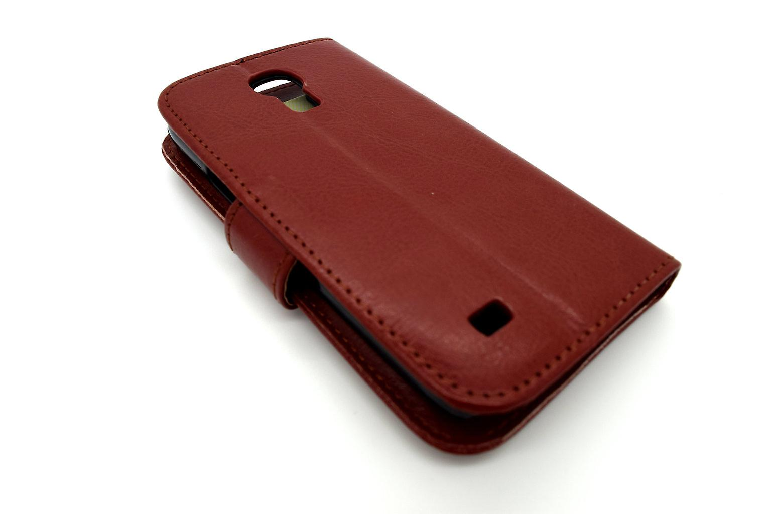 Galaxy S4 Mini case wallet leather shell brown