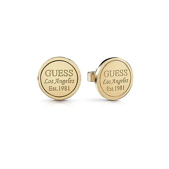 Guess Jewellery Guess L.A Coin Round Stud Gold Earrings UBE28035