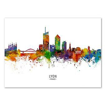 Art-Poster - Lyon France Skyline (Colored Version) - Michael Tompsett