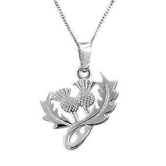 "Scottish Thistle Flower Of Scotland Necklace Pendant - Includes 18"" Chain"