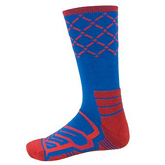Large Basketball Compression Socks, Blue/Red