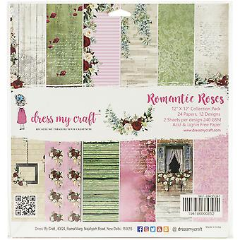 """Dress My Crafts Single-Sided Paper Pad 12""""X12"""" 24/Pkg-Romantic Roses, 12 Designs/2 Each"""