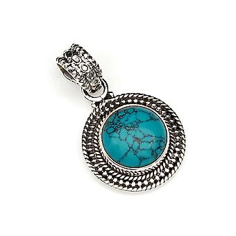 Turquoise Pendant 925 Sterling Silver Chain Pendant Locket Blue Green (122-15)
