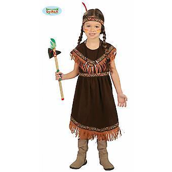 Komplettes Elegantes braunes Indianer Kostüm Mädchen Kinder Fasching Karneval