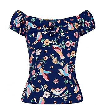Collectif Vintage Women's Dolores Doll Charming Bird Print Top