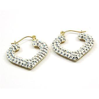 The Olivia Collection 9Ct Gold Heart Shaped Creoles Made With Swarovski Crystals