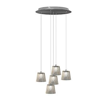 Brillcool Orion Nickel Five Pendant Round Canopy