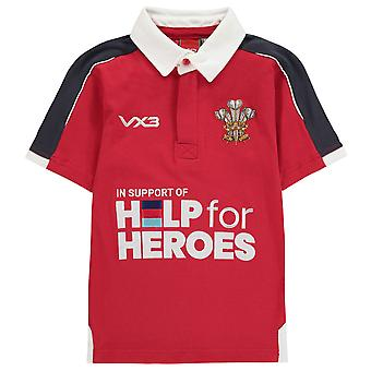 VX-3 Kids Help For Heroes Wales Rugby Replica Shirt Juniors