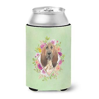 Carolines Treasures  CK4419CC Bloodhound Green Flowers Can or Bottle Hugger
