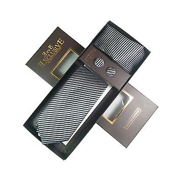 Tie, Cufflink et Hankerchief Set Exlusive Milan Collection 100% Hand Made Black With Silver Stripes