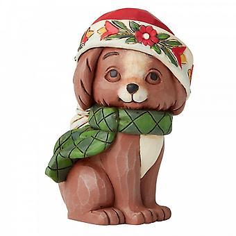 Jim Shore kernhout Creek mini Christmas puppy hond beeldje