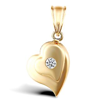 Jewelco London Ladies 9ct Yellow Gold White Round Brilliant Cubic Zirconia Layered Love Heart Charm Pendant