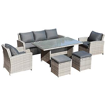 Outsunny 6Pcs Rattan Dining Set 7-seater Sofa Table Footstool Outdoor with Cushion Armchairs Patio Garden Furniture