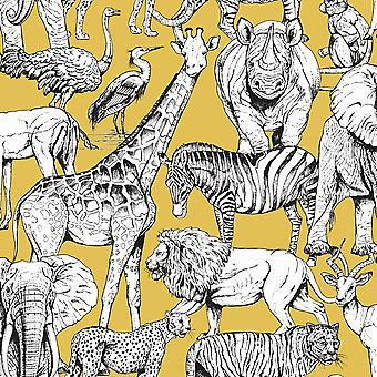 Jungle Animals Wallpaper Yellow Graham and Brown 107691