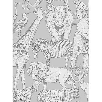 Jungle Dieren Wallpaper Grey Graham & Brown 108567