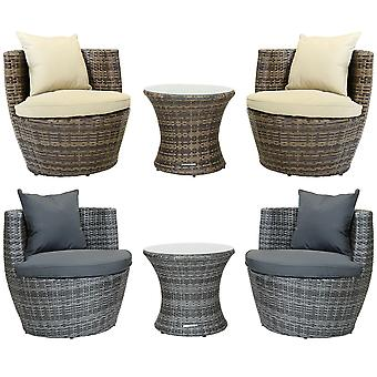 Charles Bentley 3 Piece Rattan Stacking Outdoor Patio Möbelset-Fully Assembled in Natural/Grey