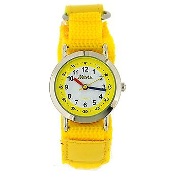 The Olivia Collection White Dial Yellow Easy Fasten Strap Kids Watch TOC131