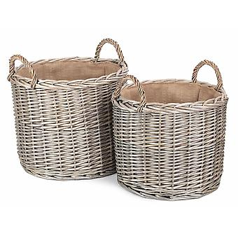 Set of 2 Round Lined Straight-Sided Wicker Log Storage Basket