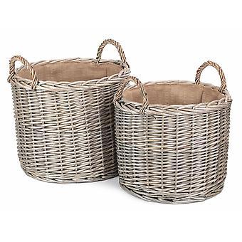 Conjunto de 2 cestas redondas de almacenamiento de madera de mimbre de lado recto