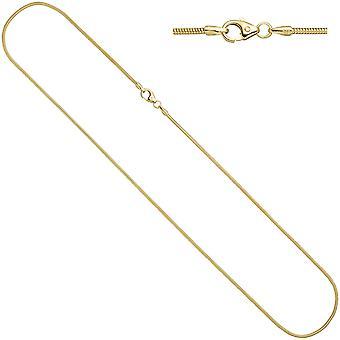 سلسلة الثعابين النسائية 585 الذهب الأصفر 1.6mm 42cm الكارابينر سلسلة الذهب سلسلة الذهب