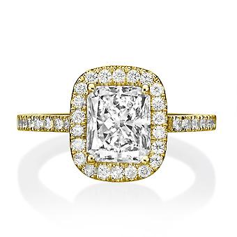 1.3 carat H VS1 diamant Engagement Ring 14K gul guld Halo Vintage mikro bane