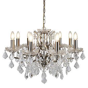 Parigi in ottone anticato e Lampadario in vetro di cristallo otto - Searchlight 8738-8AB