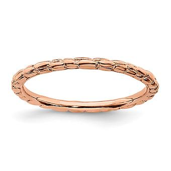 925 Sterling Silver Polished Patterned Stackable Expressions Pink plated Twisted Ring Jewelry Gifts for Women - Ring Siz