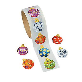Roll of 100 Christmas Bauble Ornament Stickers for Kids
