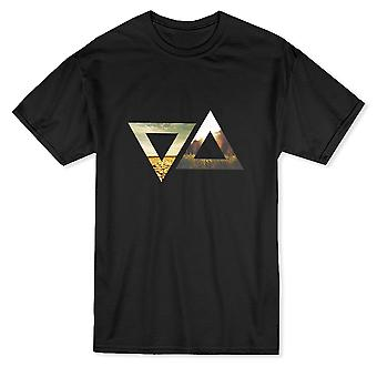 Triangles Horizon Duality Pattern Graphic Men's T-shirt