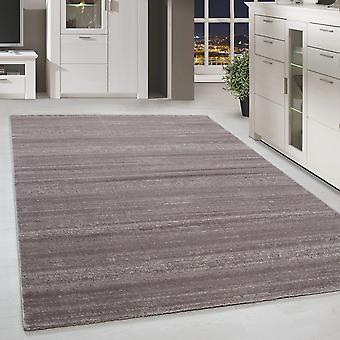 Modern ShortFlower Rug Solid Color Stripe Patterned Beige Melted Living Room