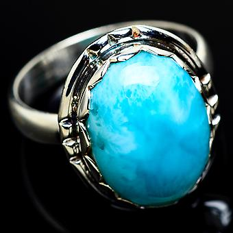 Larimar Ring Size 8.25 (925 Sterling Silver)  - Handmade Boho Vintage Jewelry RING7511