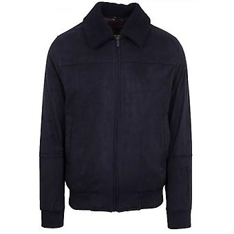 CC Collection Corneliani Navy Suede Shearling Collar Jacket