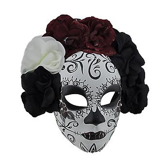 Schwarz & rot La Catrina DOD Zucker Schädel Kostüm Maske w/Blumenkrone