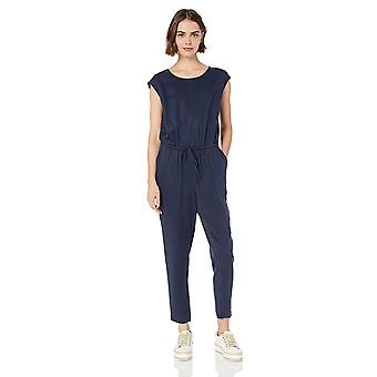 Daily Ritual Women's Tencel Short-Sleeve Jumpsuit, Navy, 16