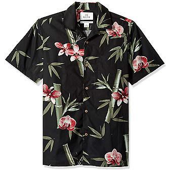 28 Palms Men's Standard-Fit 100% Cotton Tropical Hawaiian Shirt, Preto/Rosa B...