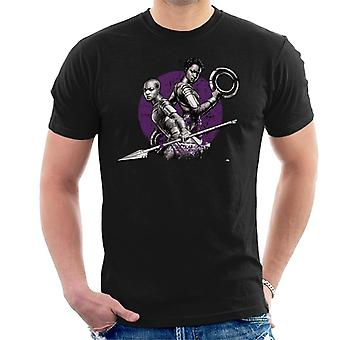 Marvel Black Panther gekümmert und Okoye lila Sonne Herren T-Shirt