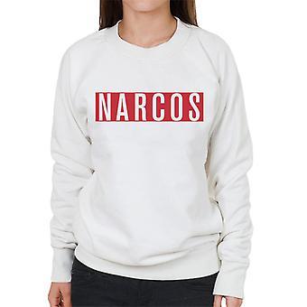 Narcos White Text Block Logo Women's Sweatshirt