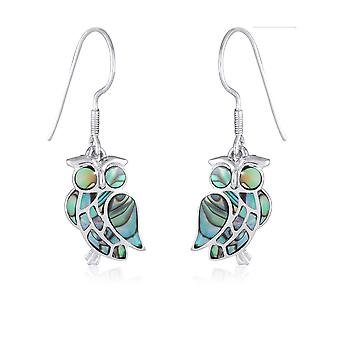 ADEN 925 Sterling Silver Abalone Mother-of-pearl Owl Earrings (id 4157)
