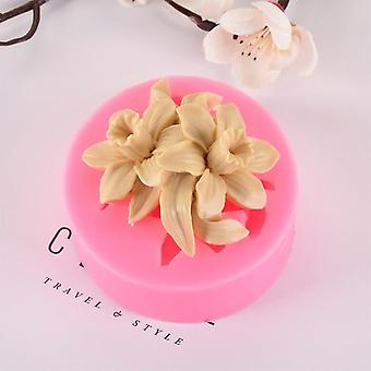 Lilac Rose Lily Fondant Silicone Mould Gypsum Cake Decorating Diy Chocolate