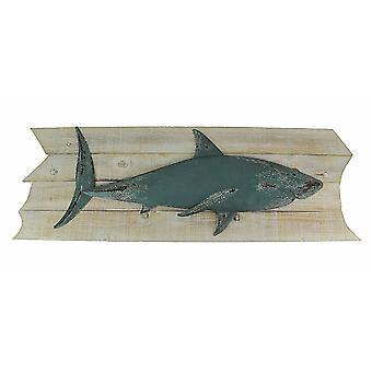 Weathered Wood and Metal Great White Shark Wall Hanging 38 Inches Long