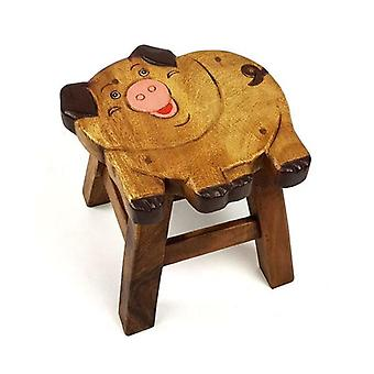 Kids Wooden Stool Pig