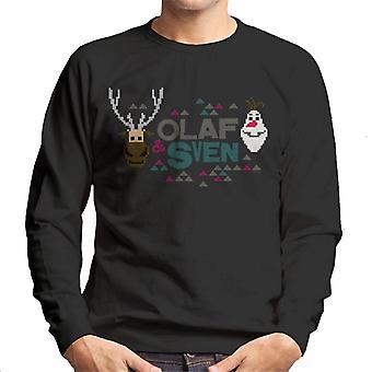 Disney gefroren Olaf und Sven Retro Pixel Design Männer's Sweatshirt